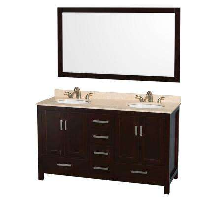 Sheffield 60 in. Double Vanity in Espresso with Marble Vanity Top in Ivory and 58 in. Mirror