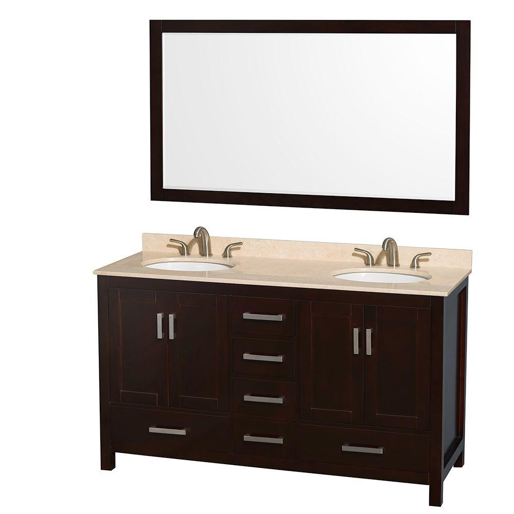 Wyndham Collection Sheffield 60 in. Double Vanity in Espresso with Marble Vanity Top in Ivory and 58 in. Mirror