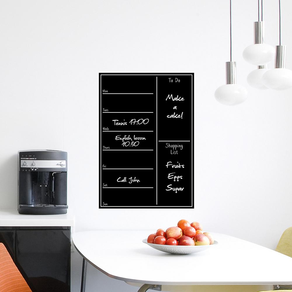 26.4 in. x 18.6 in. Black Shopping List Blackboard Wall Decal