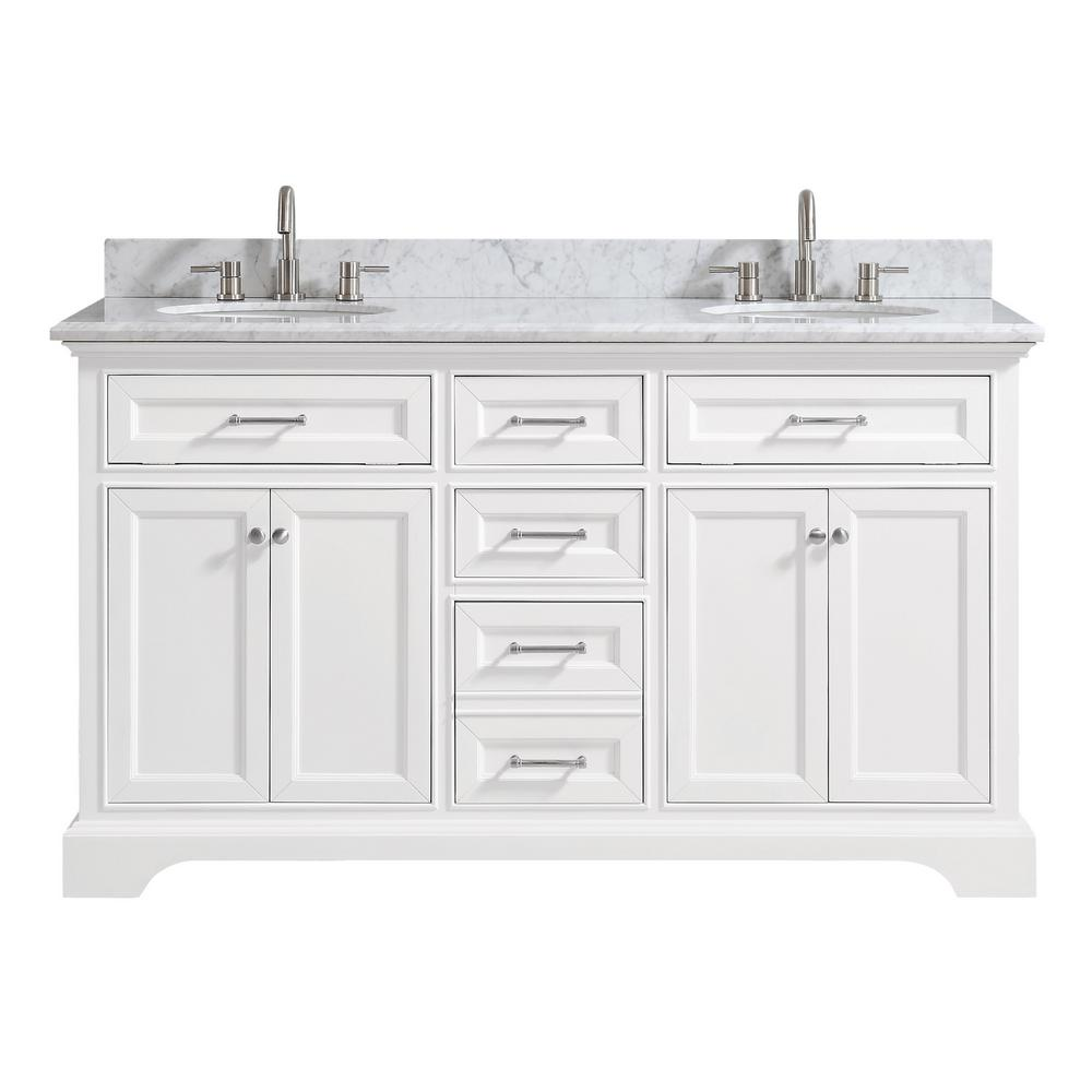 Home Decorators Collection Windlowe 61 in. W x 22 in. D x 35 in. H Bath Vanity in White with Carrera Marble Vanity Top in White with White Sink