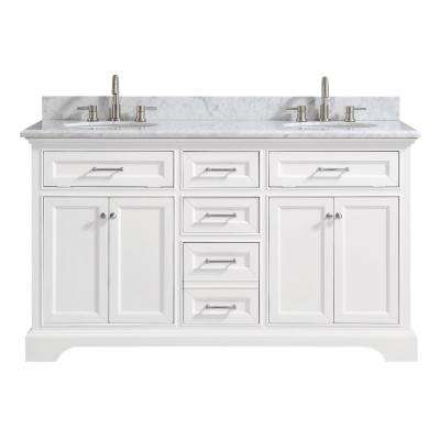 Windlowe 61 In W X 22 In D X 35 In H Bath Vanity In White With Carrera Marble Vanity Top In White With White Sink