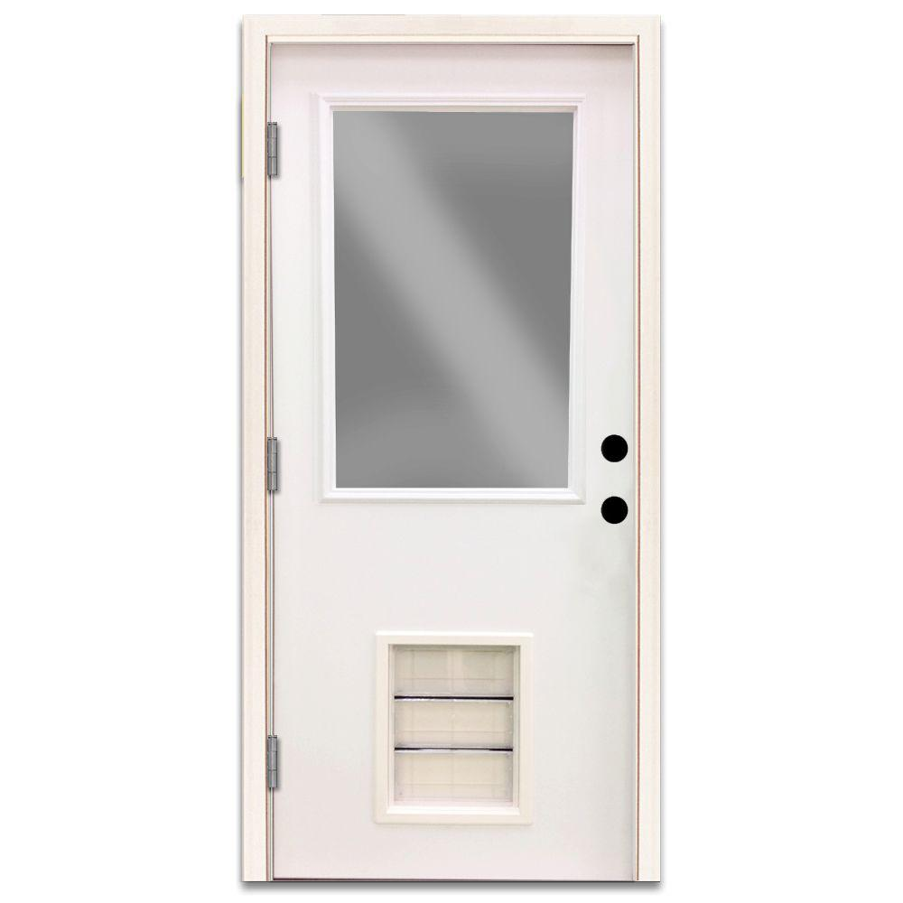 Steves & Sons Premium Half Lite Primed White Steel Entry Door 36 in. Right Hand Outswing with Extra Large Pet Door
