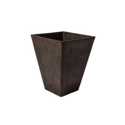 Valencia 11-1/2 in. Square Brown Marble Polystone Planter