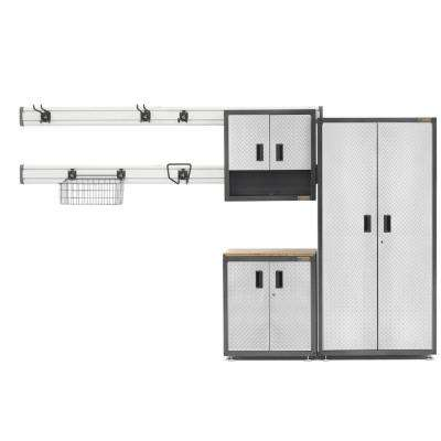 Ready-to-Assemble 72 in. H x 64 in. W x 18 in. D Steel Garage Cabinet Set in Silver Tread Plate (9-Pieces)
