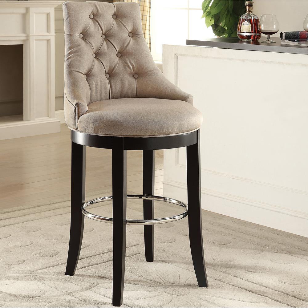 Baxton Studio Harmony Beige Fabric Upholstered Bar Stool