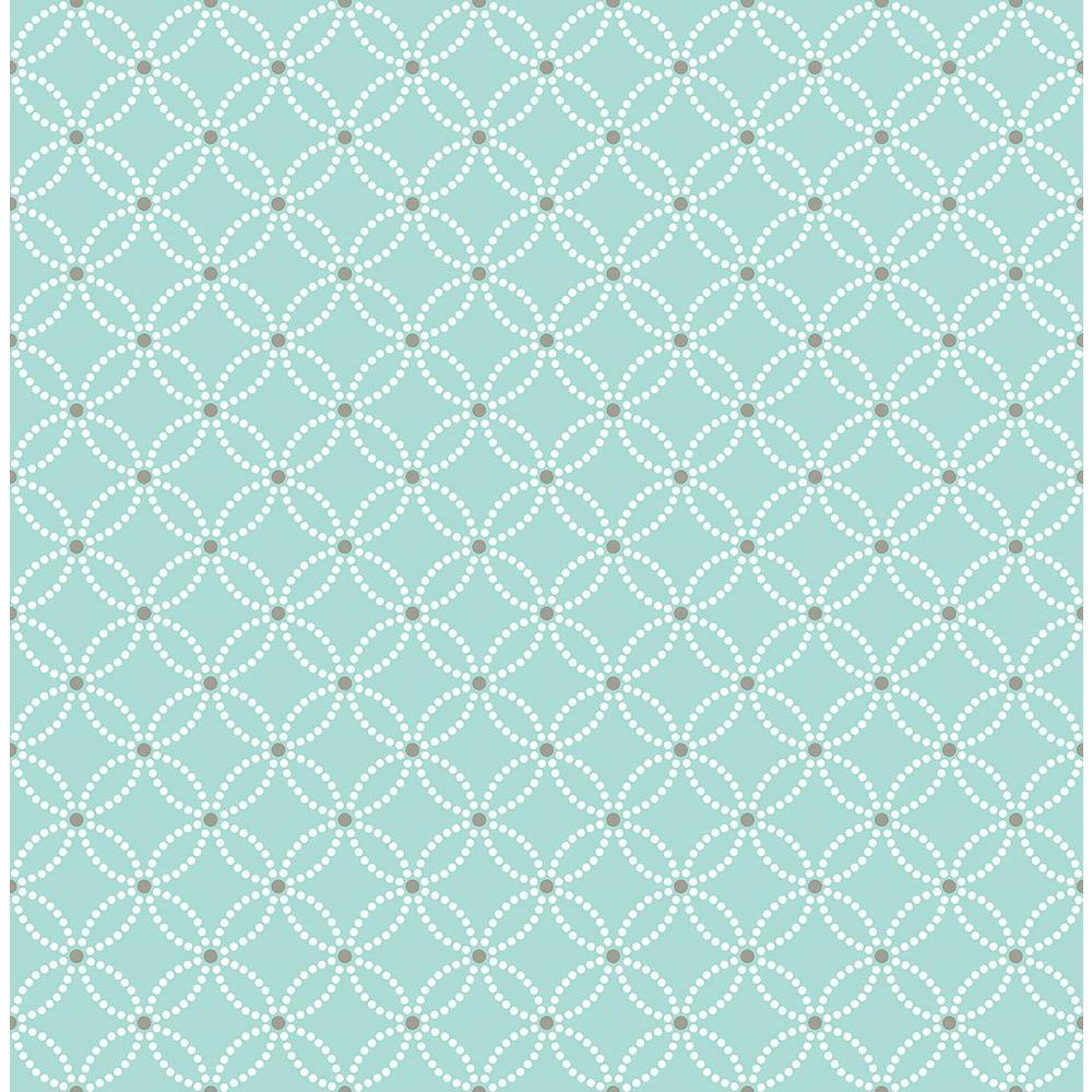 Kinetic Turquoise Geometric Floral Wallpaper Sample