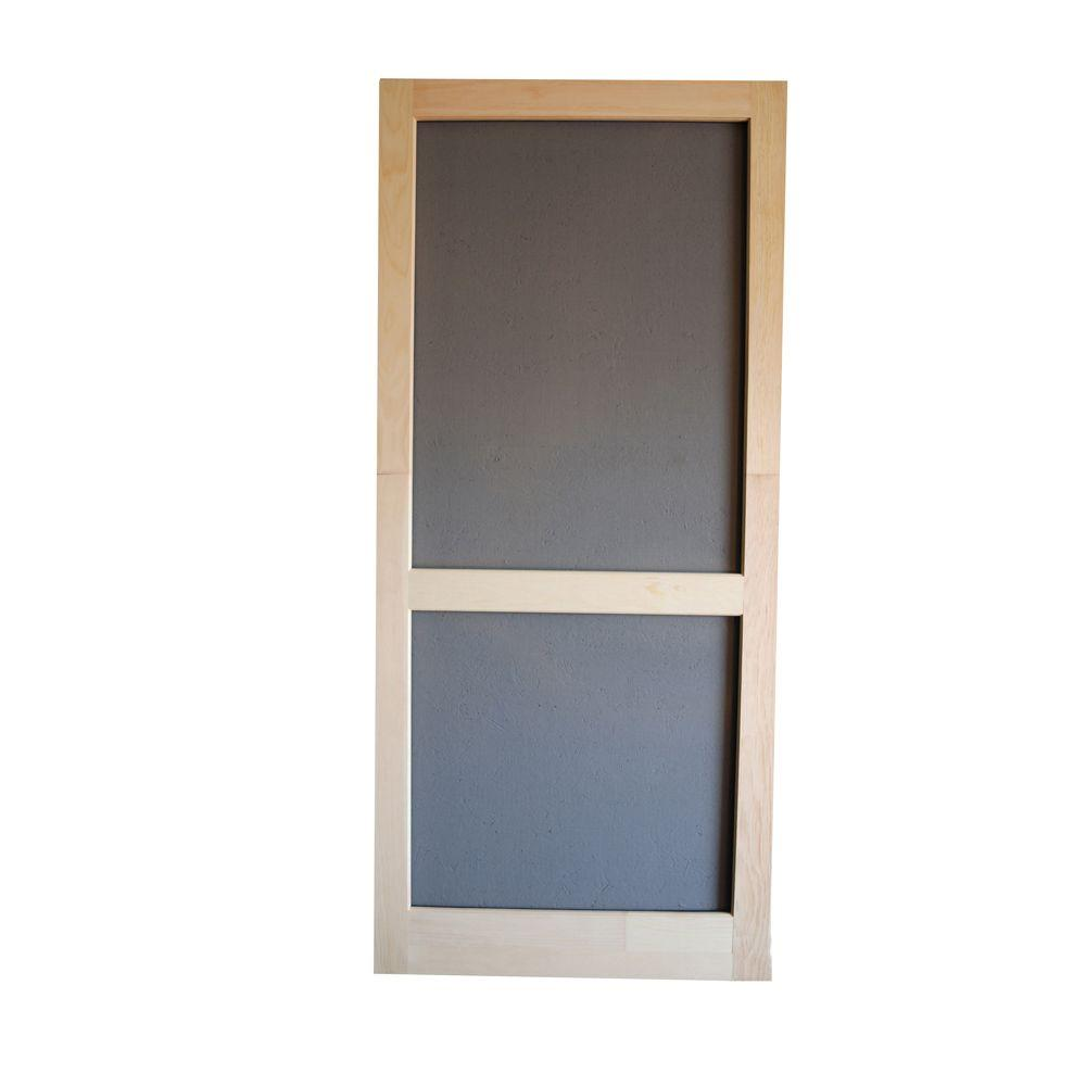 Screen Tight 30 in. x 80 in. Woodcraft Wood Unfinished Reversible Hinged Screen Door