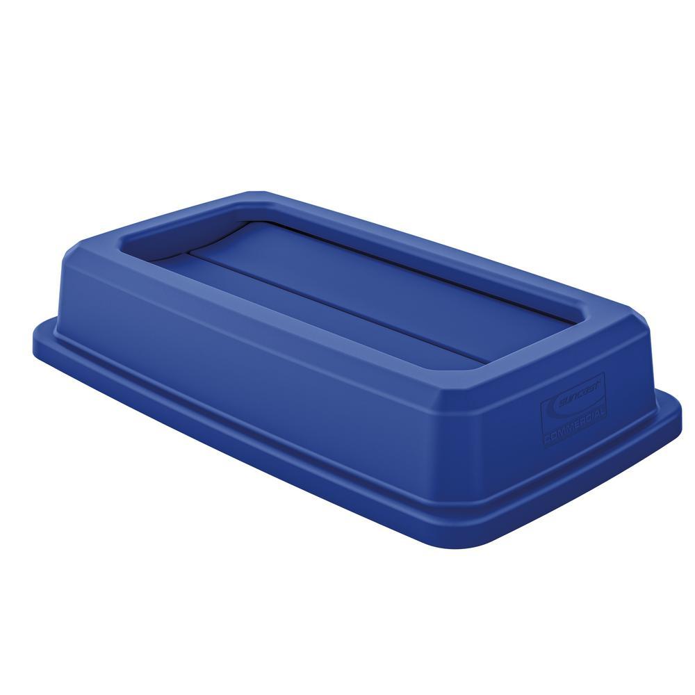 suncast commercial slim blue double flip trash can lid tcnlid01bld the home depot. Black Bedroom Furniture Sets. Home Design Ideas