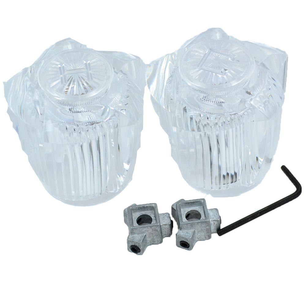 PartsmasterPro Tub and Shower Handle Pair Universal Fit in Clear ...