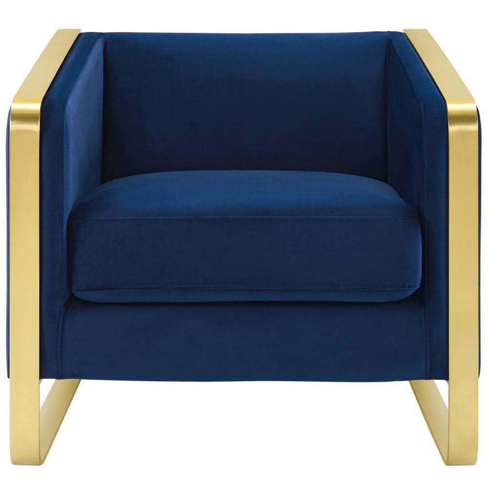 Visualize Navy Accent Club Lounge Performance Velvet Armchair