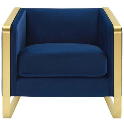Visualize Navy Accent Club Lounge Performance Velvet Armchair