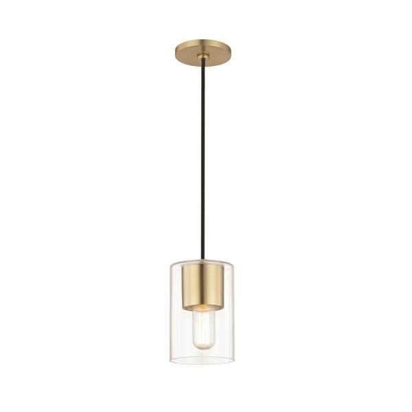 Lula 1-Light Aged Brass Pendant with Clear Glass