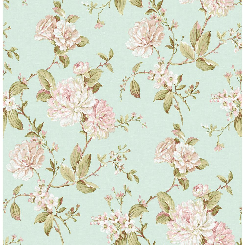 Brewster Mandir Light Blue Floral Trails Wallpaper 2734 003415