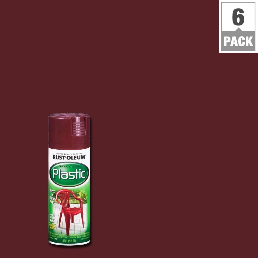 Rust-Oleum Specialty 12 oz. Claret Wine Paint for Plastic Spray Paint (6-Pack)