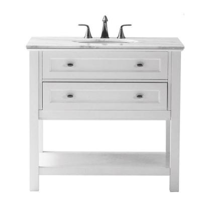 Austell 37 in. W x 22 in. D Bath Vanity in White with Natural Marble Vanity Top in White