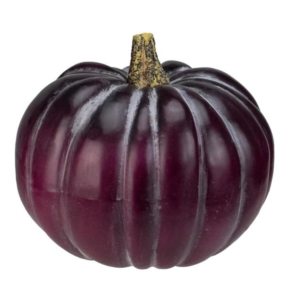 9 in. H x 10.5 in. W Dark Purple Round Pumpkin Fall Harvest Table Top Decoration
