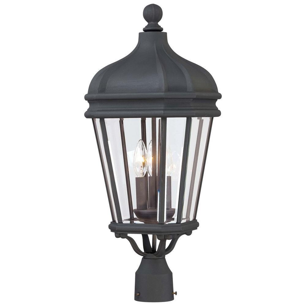 MINKA Harrison 3-Light Black Outdoor Post Mount Light