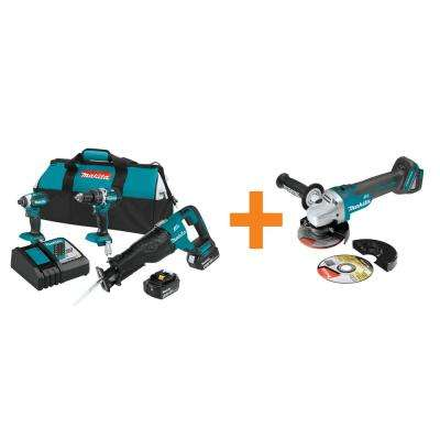 18-Volt LXT Brushless 3-Piece Combo Kit (4.0 Ah) with Bonus 18-Volt LXT Brushless 4-1/2 in./5 in. Cut-Off/Angle Grinder