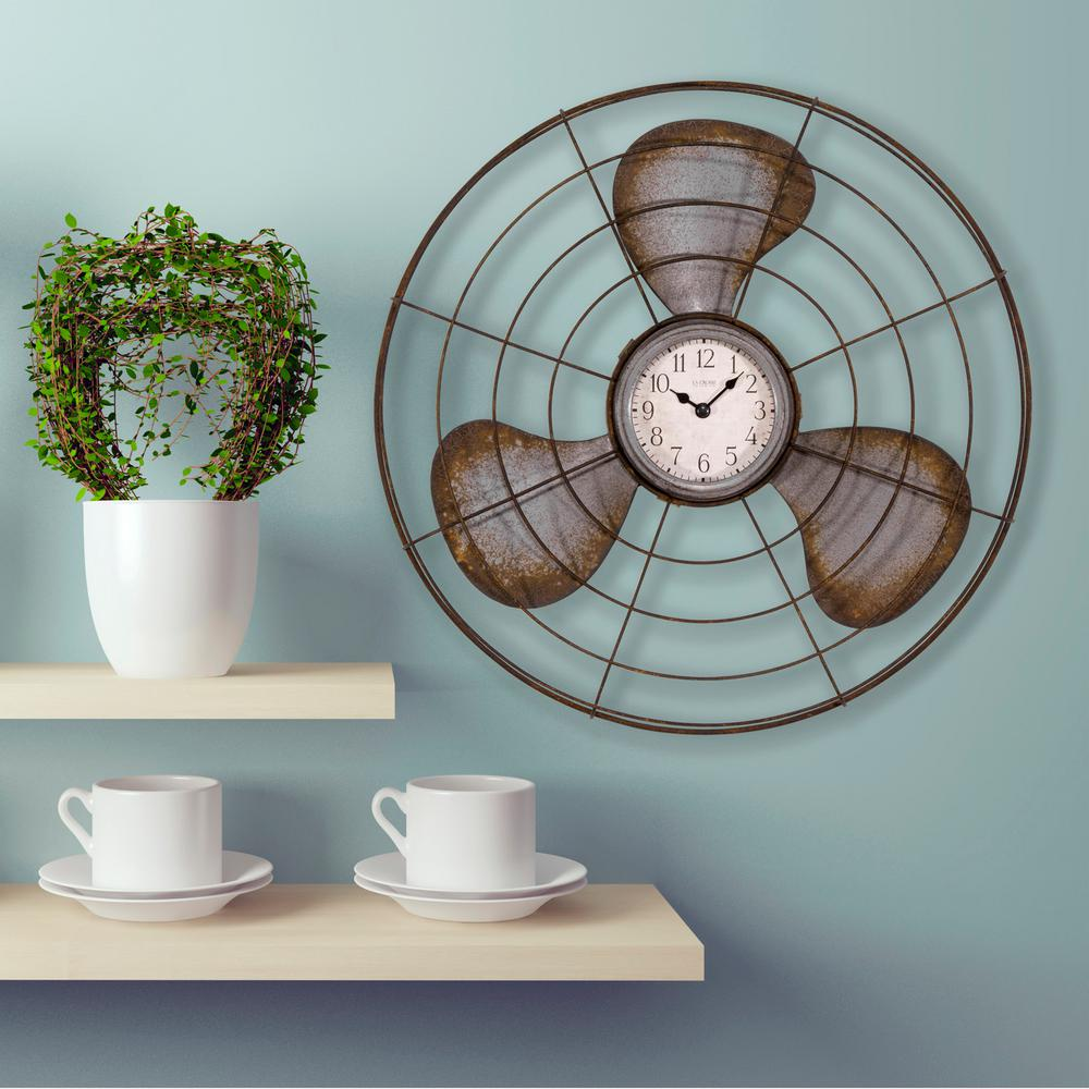 16.5 in. Metal Fan Quartz Wall Clock