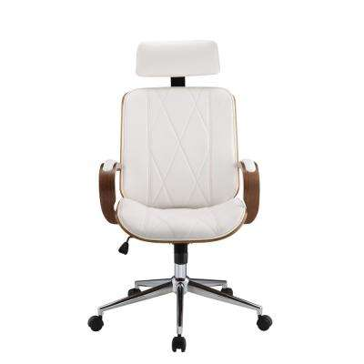 Yoselin White Leatherette and Walnut Office Chair