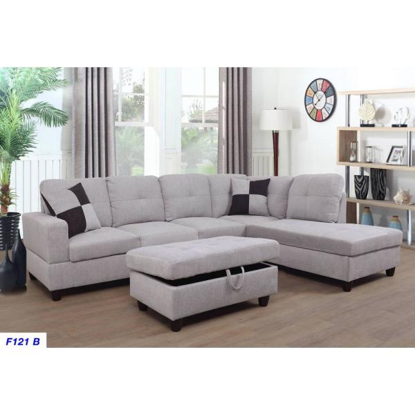 Terrific Gray Flannelette Left Chaise Sectional With Storage Ottoman Ibusinesslaw Wood Chair Design Ideas Ibusinesslaworg