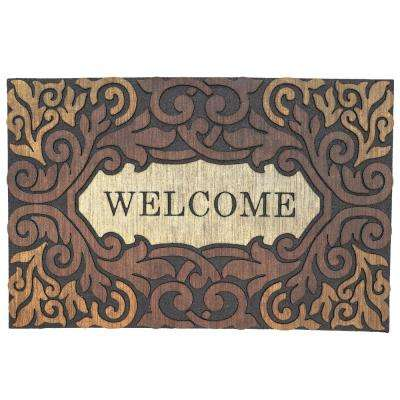 Scroll Border Welcome Multi 23 in. x 35 in. Door Mat