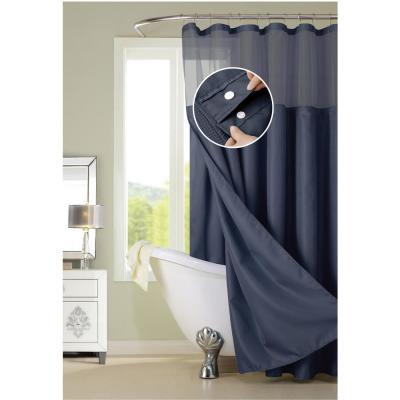 Hotel Complete 72 in. Navy Blue Textured Waffle Shower Curtain with Detachable Liner
