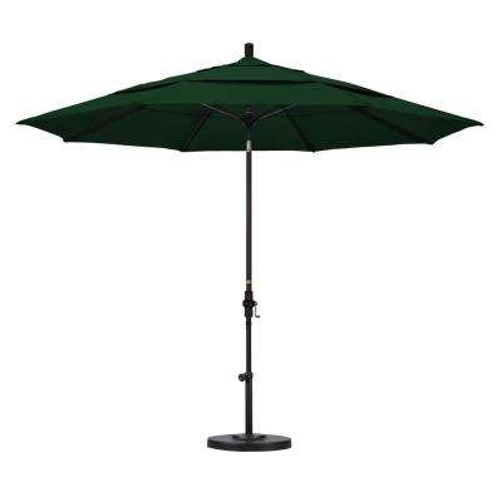 11 ft. Fiberglass Collar Tilt Double Vented Patio Umbrella in Hunter Green Olefin