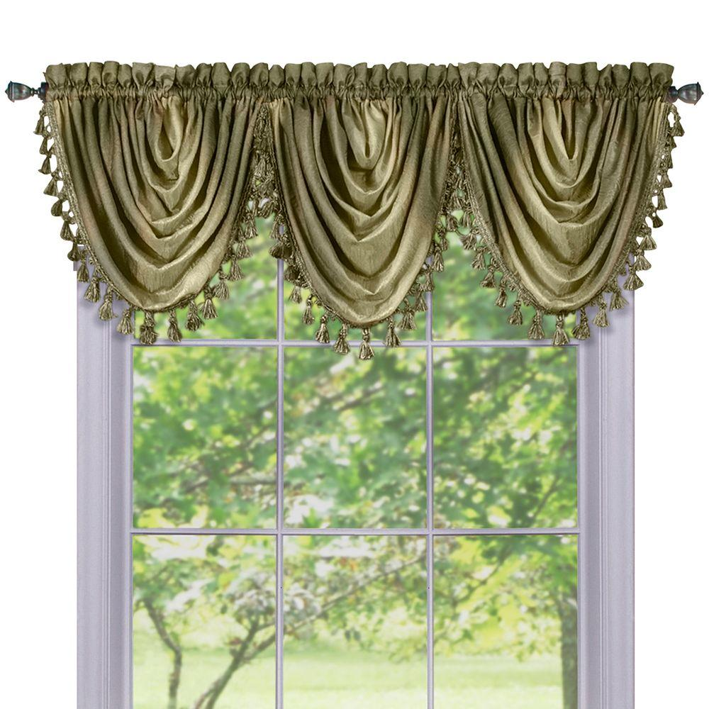 fascinating Sage Green Window Valance Part - 16: Achim Semi-Opaque Ombre Waterfall 42 in. L Polyester Valance in Sage