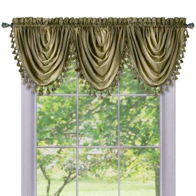 Semi-Opaque Ombre Waterfall 42 in. L Polyester Valance in Sage
