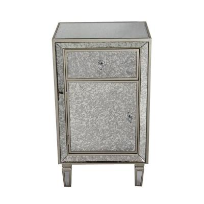 Shelly Champagne Wood Cabinet with a Drawer and Door