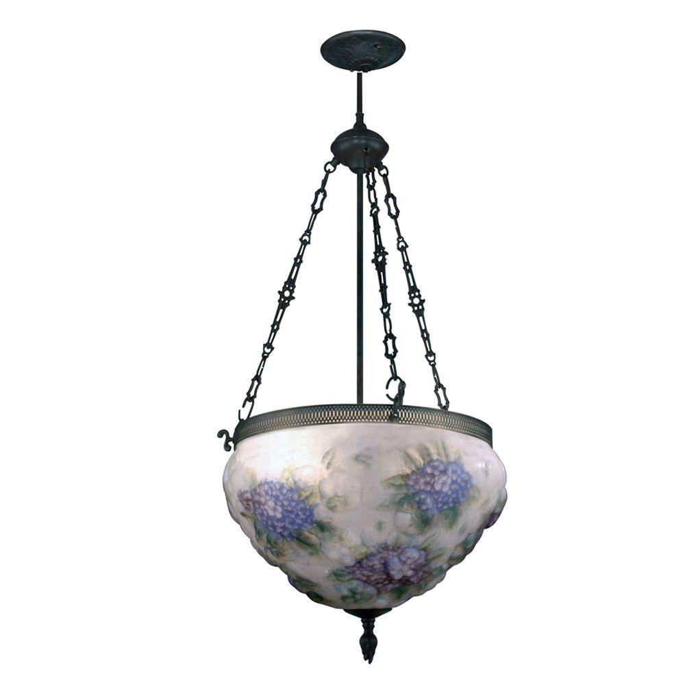 Antique Tiffany Hanging Lamp Value: Dale Tiffany 3-Light Antique Bronze Hand-Painted Hydrangea