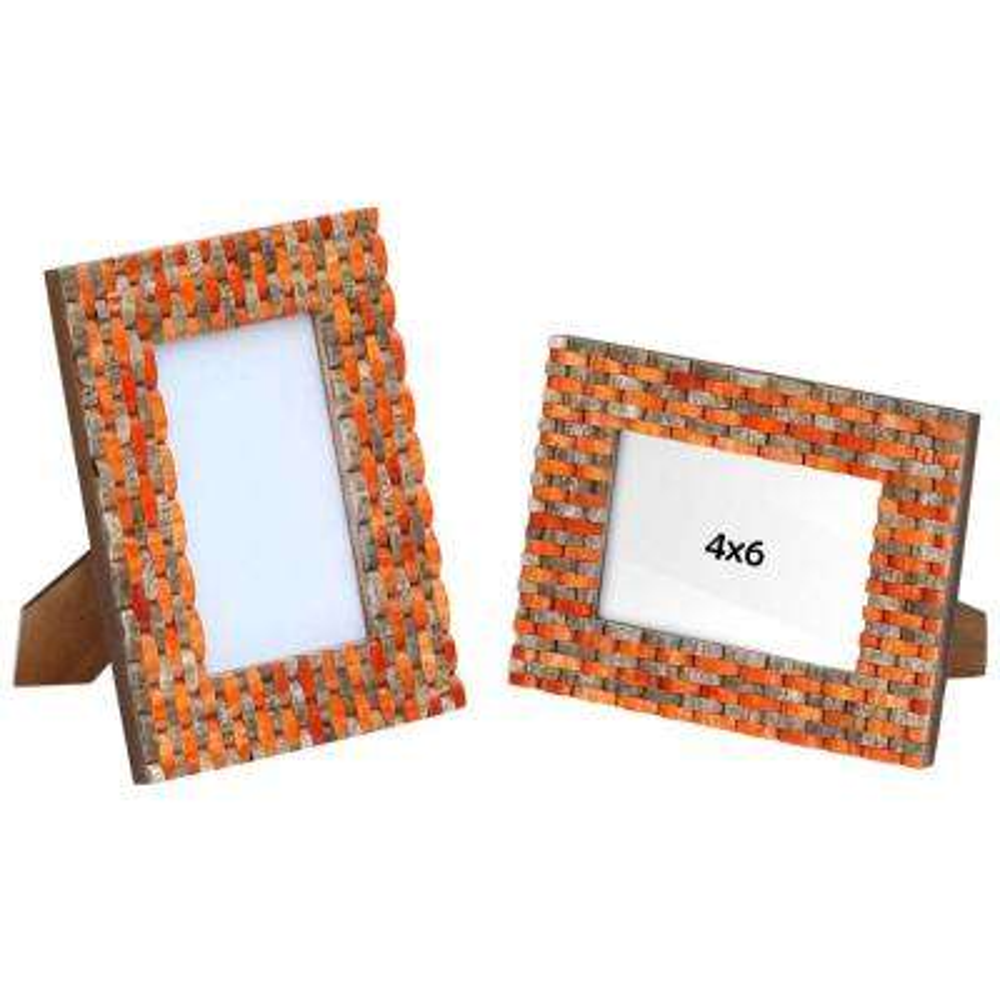 Tile Stripe Pattern 8.4 in. x 6.4 in. Orange And Brown Finish Handmade Photo Frame