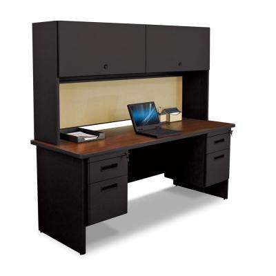 72 in. W x 24 in. D Black, Mahogany and Beryl 72 in. Double File Desk Credenza Including Flipper Do or Cabinet