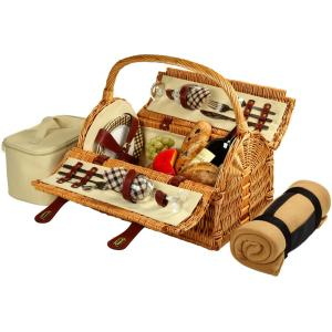 Sussex Willow Picnic Basket with Service for 2 with Blanket in London Plaid by