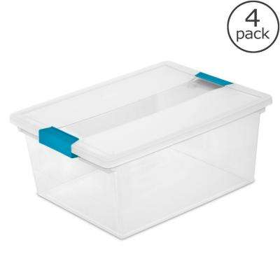 11 1/2 Qt. Deep Clip Box Storage Tote (4-Pack)