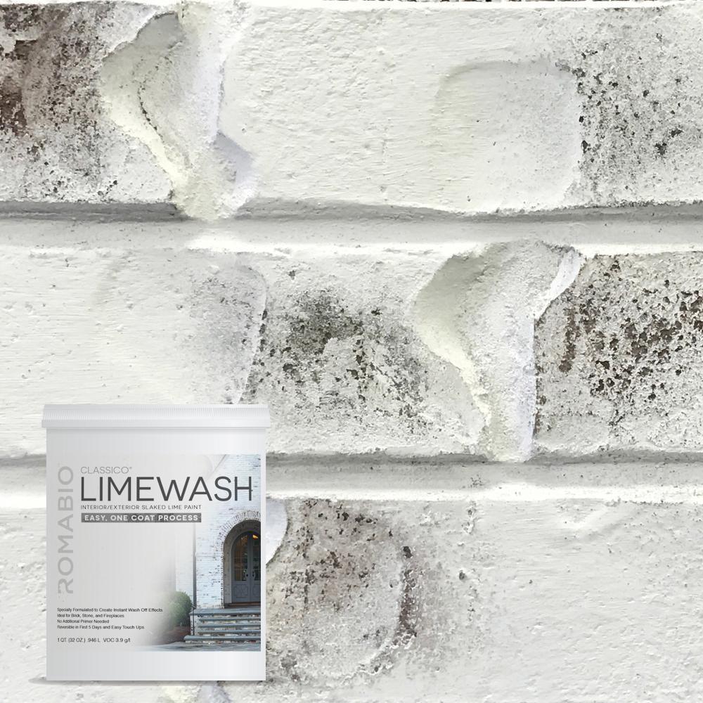 1 qt. Bianco White Limewash Interior/Exterior Paint-10111 - The Home ...