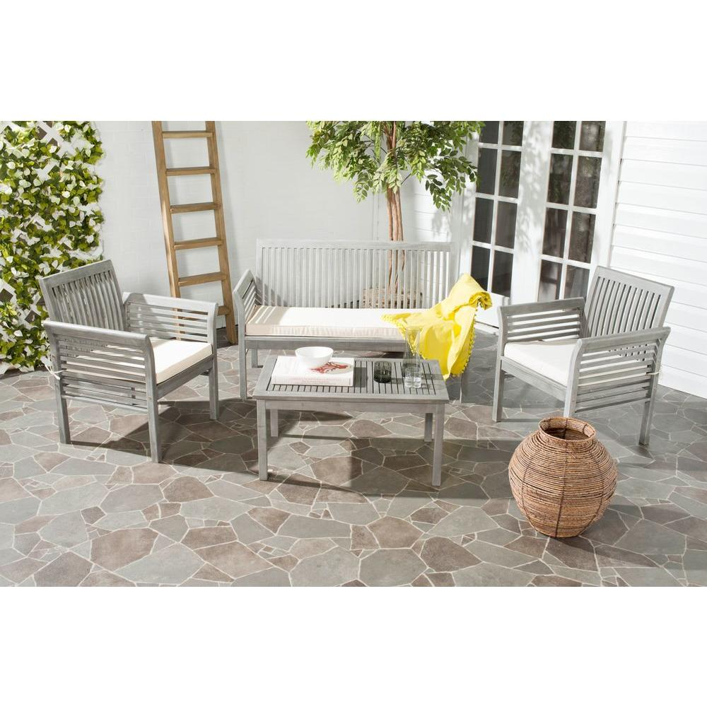Safavieh Carson Grey Wash 4 Piece Outdoor Patio Conversation Set With Beige Cushions