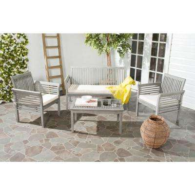 Carson Grey Wash 4-Piece Outdoor Patio Conversation Set with Beige Cushions