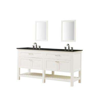 Preswick Spa 70 in. x 25 in. D Vanity in White with Granite Vanity Top in Black with White Basin and Mirrors