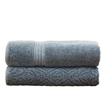2-Pack Denim Washed Fleur Lattice Bath Towel Set in Medium Blue