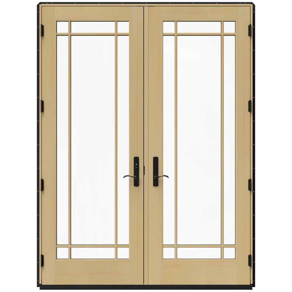 Jeld wen 72 in x 96 in w 4500 black clad wood right hand for French inswing patio door screen