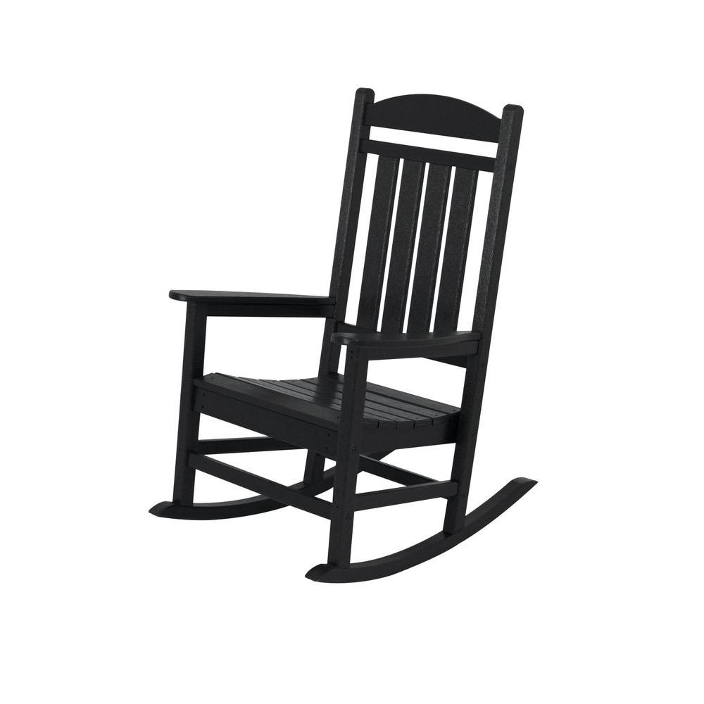 Superbe POLYWOOD Presidential Black Patio Rocker
