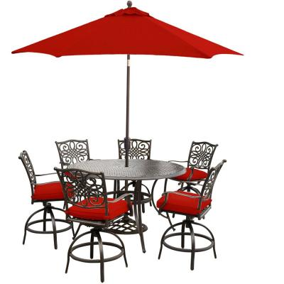 Traditions 7-Piece Aluminum Outdoor Bar Height Dining Set with Red Cushions with 9 ft. Table Umbrella and Stand