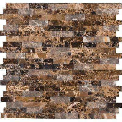 Emperador Splitface Peel and Stick 12 in. x 12 in. x 6mm Marble Mesh-Mounted Mosaic Tile (1 sq. ft.)