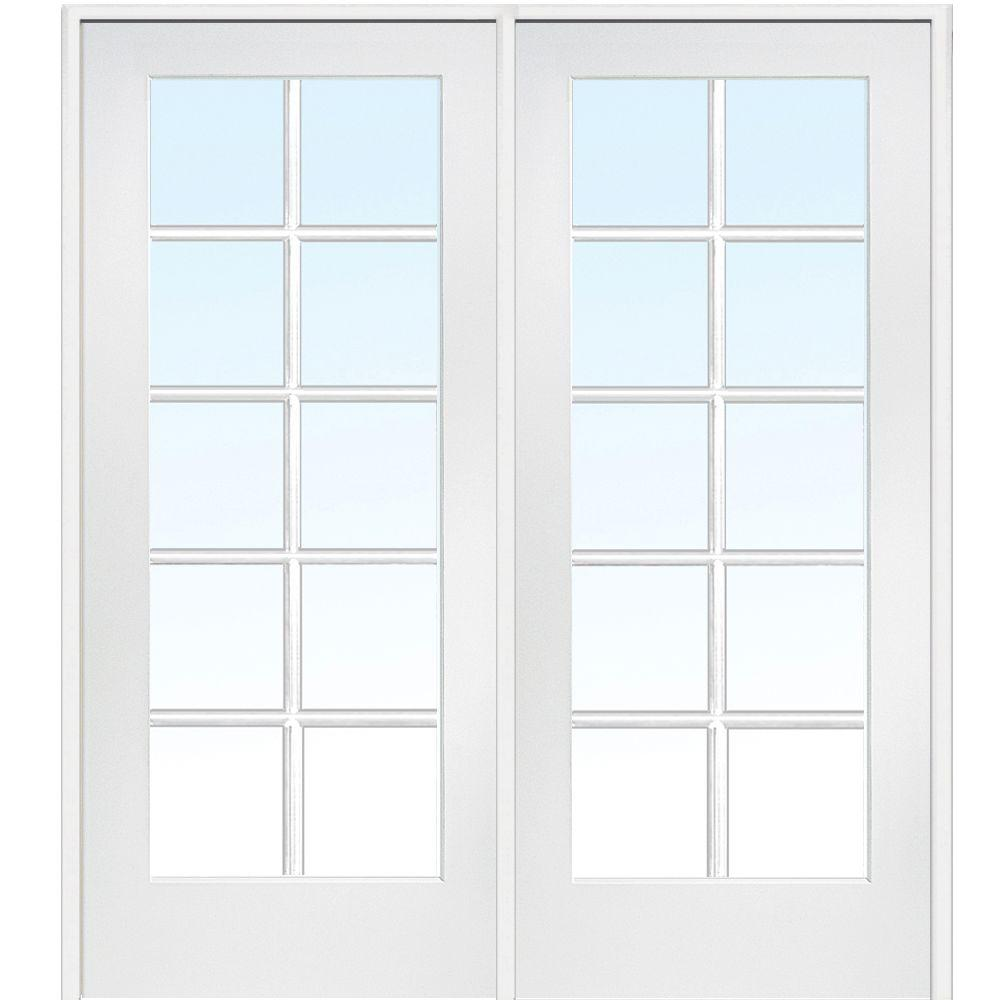 60 in. x 80 in. Left Hand Active Primed MDF Glass