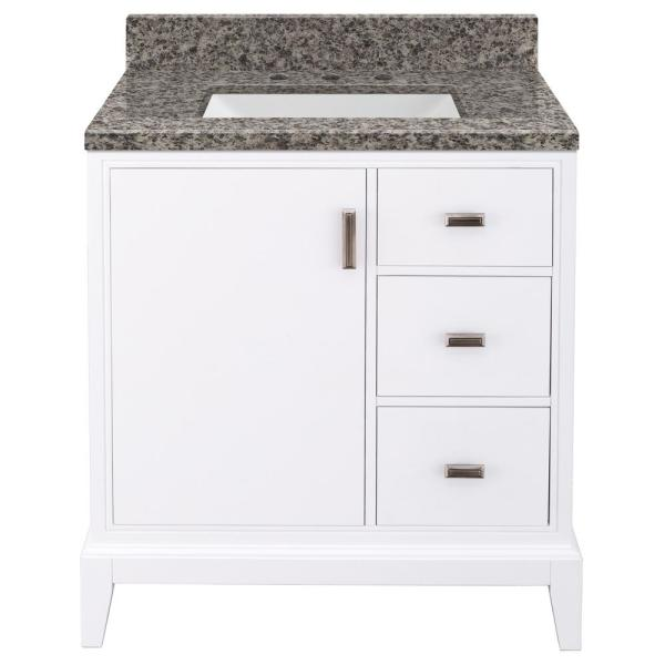 Shaelyn 31 in. W x 22 in. D Bath Vanity in White Right Hand Drawers with Granite Vanity Top in Sircolo with White Sink