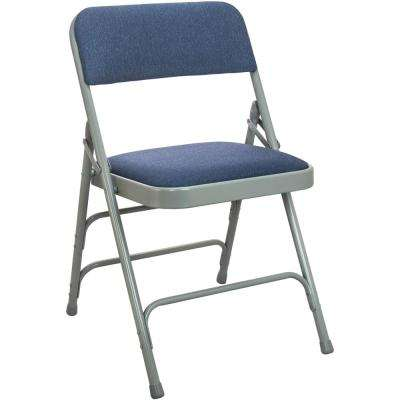 1 in. Navy Blue Fabric Seat with Grey Padded Metal Folding Chair