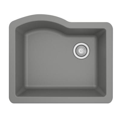 Undermount Quartz Composite 24 in. Single Bowl Kitchen Sink in Grey