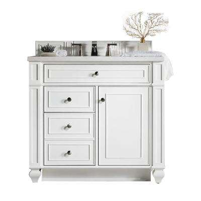 Bristol 36 in. W Single Vanity in Cottage White with Soild Surface Vanity Top in Arctic Fall with White Basin